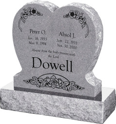 "Single Heart Headstone with 30"" Base - Polished Front and Back - 10 Color Choices - Starting at $1434"