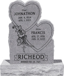 "Double Heart Headstone with 34"" Base - Polished Front and Back - 10 Color Choices - Starting at $1919"