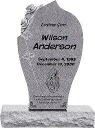 "Carved Rose Headstone with 34"" Base - Polished All Sides - 10 Color Choices - Starting at $2299"