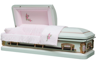 PrimRose White And Pink Casket with Pink Velvet Interior - Metal Casket