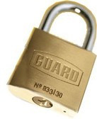 "Guard 833 Brass Padlock 1-¼"" (30mm) BODY 3/4""SHACKLE"