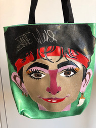 Jane Wiedlin vinyl tote bag - Made by Lori Herbst and illustration by Chris Shary  - Autographed by Jane