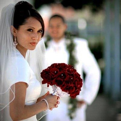 Burgundy Silk Rose Hand Tie (3 Dozen Roses) - Bridal Wedding Bouquet