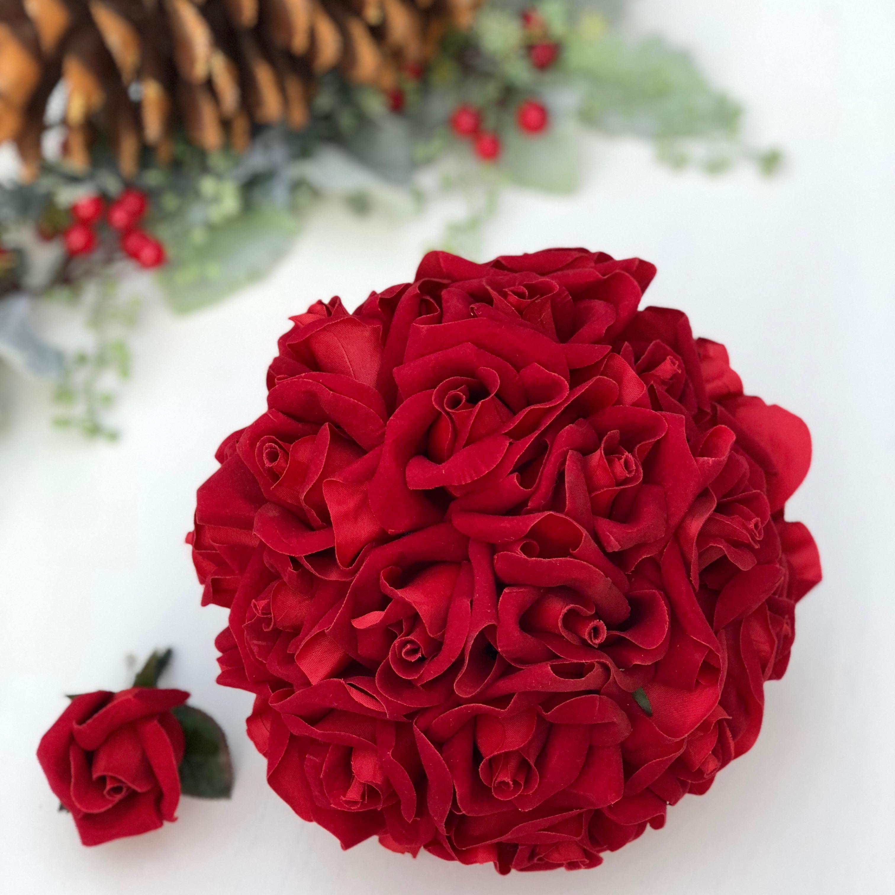 24 Red Velvet rose silk wedding flower bouquet