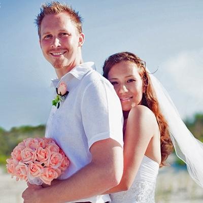 Peach Silk Rose Hand Tie (3 Dozen Roses) - Bridal Wedding Bouquet