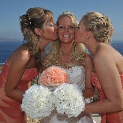 Peach Silk Rose Hand Tie (2 Dozen Roses) - Bridal Wedding Bouquet
