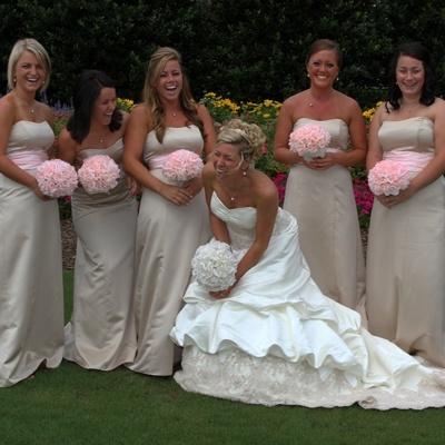 Pink Silk Rose Hand Tie (2 Dozen Roses) - Bridal Wedding Bouquet