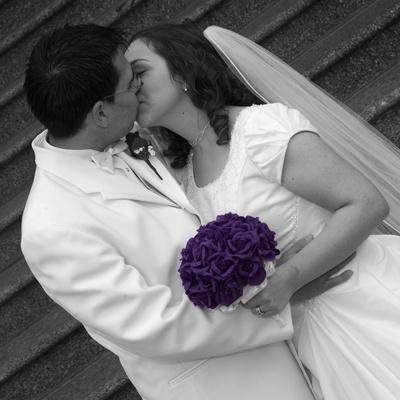 Purple Silk Rose Hand Tie (2 Dozen Roses) - Bridal Wedding Bouquet