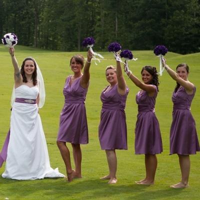 Purple Silk Rose Toss Bouquet -1 Dozen Silk Roses - Bridal Wedding Bouquet