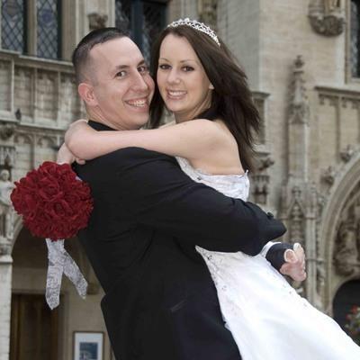 Red Silk Rose Hand Tie (2 Dozen Roses) - Bridal Wedding Bouquet