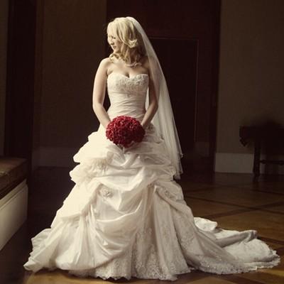Red Silk Rose Hand Tie (3 Dozen Roses) - Bridal Wedding Bouquet