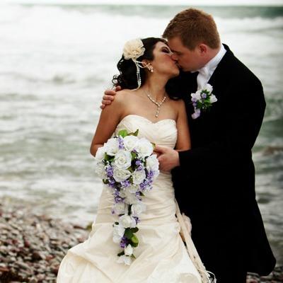 Sweet Lavender Silk Rose Cascade - Bridal Wedding Bouquet