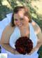 Burgundy Silk Rose Hand Tie (2 Dozen Roses) - Bridal Wedding Bouquet