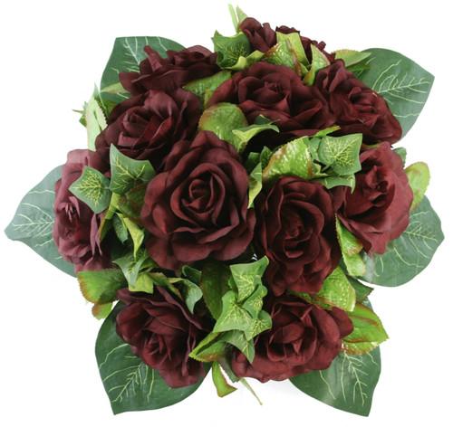 Burgundy Silk Rose Nosegay - Bridal Wedding Bouquet