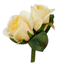 Yellow Silk Rose Double Boutonniere - Groom Boutonniere Prom