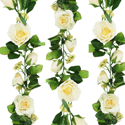 Butter yellow silk rose garland yellow rose garland silk flower decoration 8 feet mightylinksfo