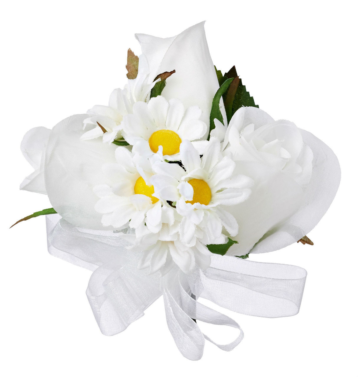 Wedding Flowers Corsage Ideas: Silk White Rose Wedding Corsage With Silk Daisies