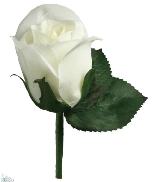 Ivory Silk Rose Boutonniere