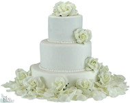 Ivory Silk Rose Cake Flowers