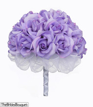 Lavender Silk Rose Hand Tie (2 Dozen Roses) - Bridal Wedding Bouquet