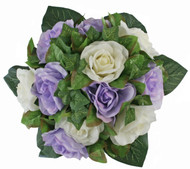 Lavender and Ivory Silk Rose Nosegay - Bridal Wedding Bouquet