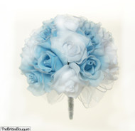 Light Blue and White Silk Rose Hand Tie (2 Dozen Roses) - Bridal Wedding Bouquet