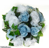 Light Blue and White Silk Rose Nosegay - Bridal Wedding Bouquet