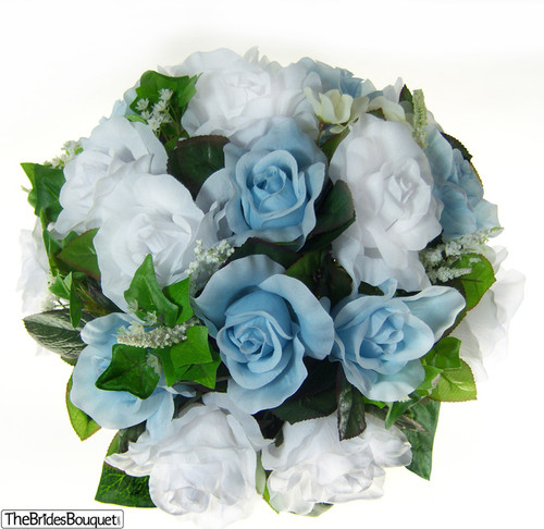 Light Blue And White Silk Rose Nosegay Flower Bouquet