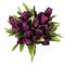 Tulip Bouquet 36 Silk Plum Tulips - Bridal Wedding Bouquet