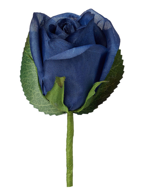 Navy Blue Silk Rose Boutonniere - Groom Boutonniere Prom