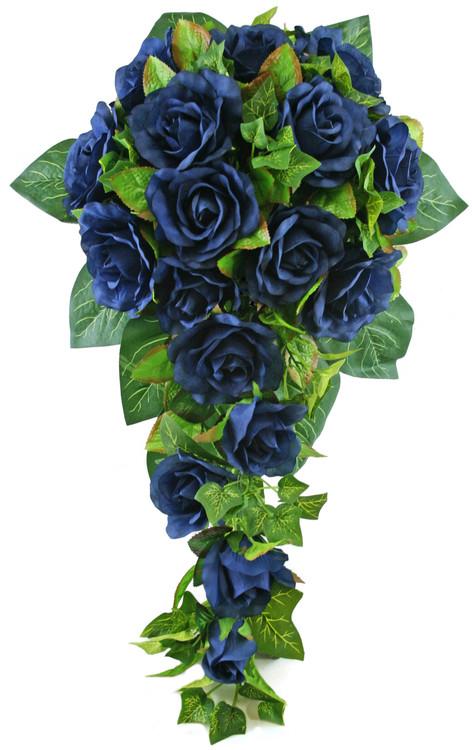 Navy Blue Silk Rose Cascade - Silk Bridal Wedding Bouquet