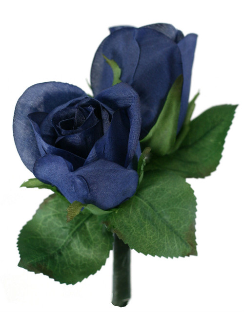 Navy Blue Silk Rose Double Boutonniere - Groom Boutonniere Prom