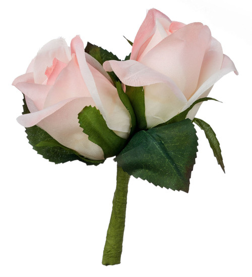 Pink Silk Rose Double Boutonniere - Groom Boutonniere Prom