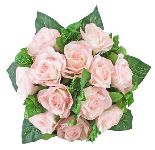 Pink Rose Bridal Bouquet - Silk Wedding Nosegay Flowers