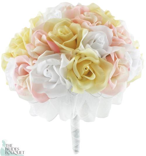 Pink, Yellow and White Silk Rose Hand Tie (3 Dozen Roses) - Bridal Wedding Bouquet