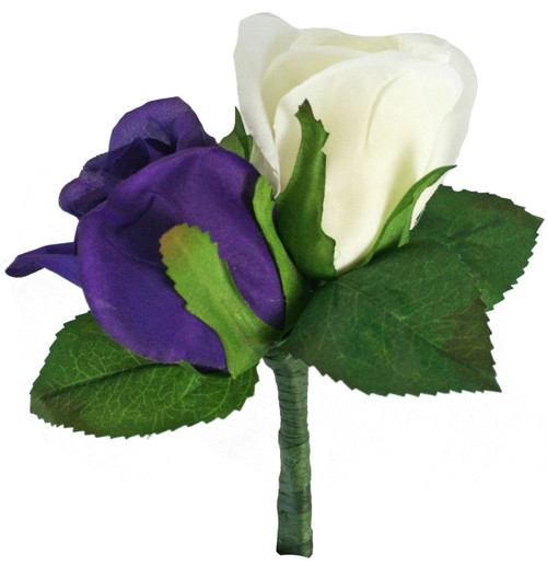Purple and Ivory Silk Rose Double Boutonniere - Groom Boutonniere Prom