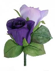 Purple and Lavender Silk Rose Double Boutonniere - Groom Boutonniere Prom