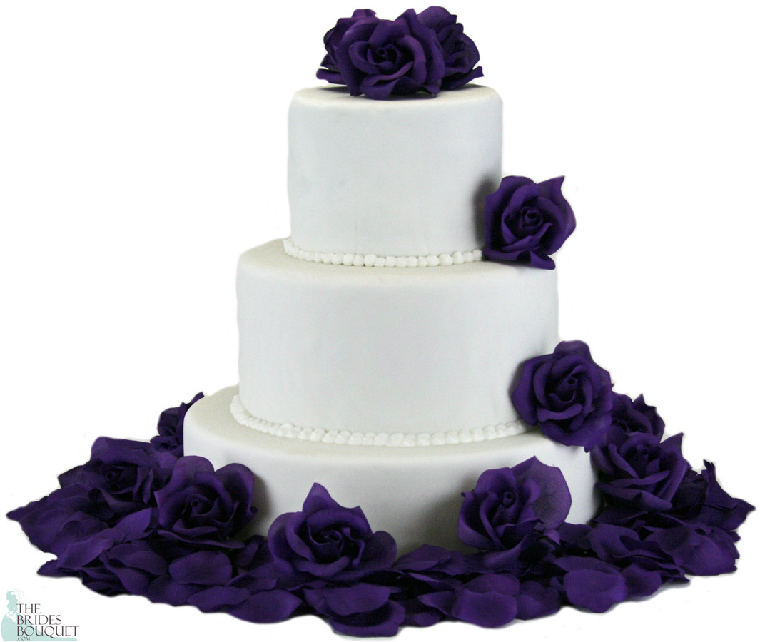 Purple Silk Rose Cake Flowers - Reception Decoration ...