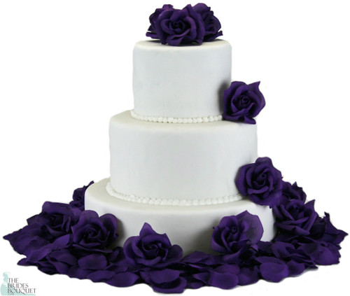 Purple Silk Rose Cake Flowers
