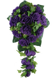 Purple Silk Rose Cascade - Bridal Wedding Bouquet