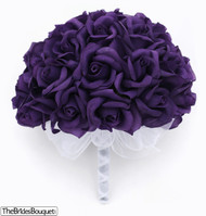 Purple Silk Rose Hand Tie (36 Roses) - Silk Bridal Wedding Bouquet