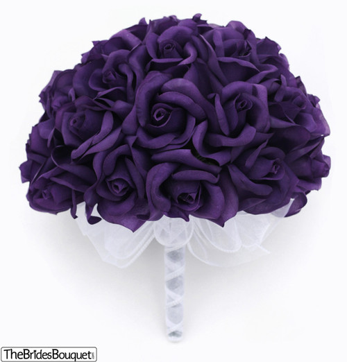 36 Purple Roses - Silk Flower Bridal Bouquet - Wedding - Bridesmaid ...