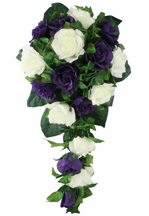 Purple and Ivory Silk Rose Cascade - Bridal Wedding Bouquet