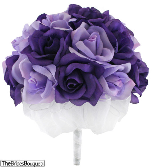 Purple and Lavender Silk Rose Hand Tie (2 Dozen Roses) - Bridal Wedding Bouquet