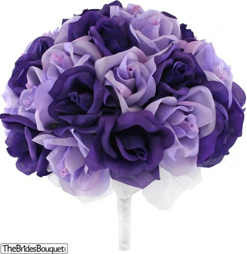 Purple and Lavender Silk Rose Hand Tie (3 Dozen Roses) - Bridal Wedding Bouquet