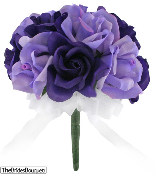 12 Roses: Purple & Lavender - Silk Flower Bridal Bouquet - Wedding ...