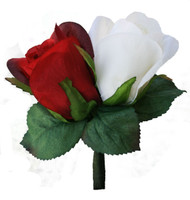 Red and Ivory Silk Rose Double Boutonniere - Groom Boutonniere Prom
