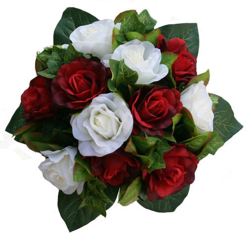 Red and Ivory Silk Rose Nosegay - Bridal Wedding Bouquet
