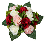 Red Pink and Ivory Silk Rose Nosegay - Silk Bridal Wedding Bouquet