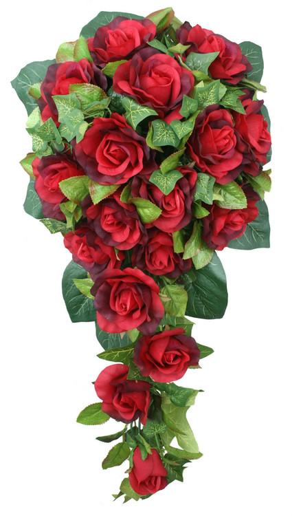 Red Silk Rose Cascade - Bridal Wedding Bouquet - TheBridesBouquet.com